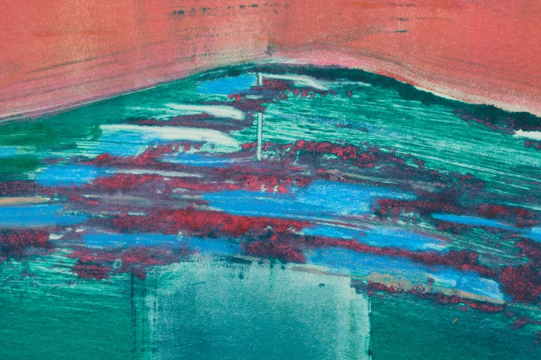 Bold abstract lithograph by Fran Ciscus (American, 20th Century). Signed