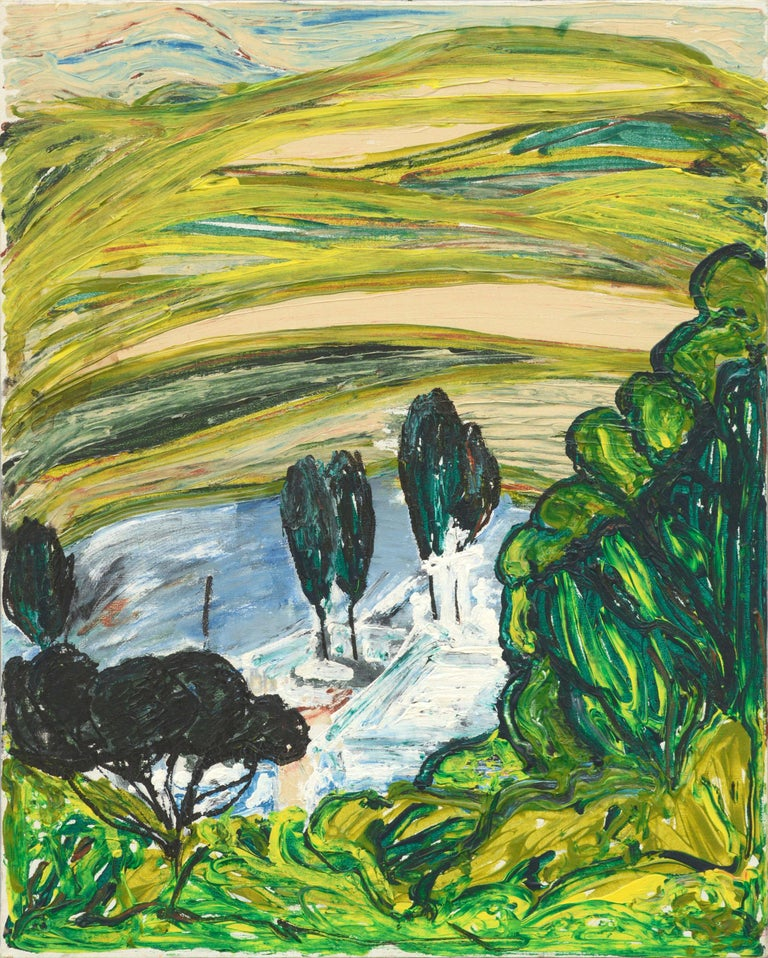 Allie William Skelton Abstract Painting - Modernist Rolling Hills Countryside Landscape