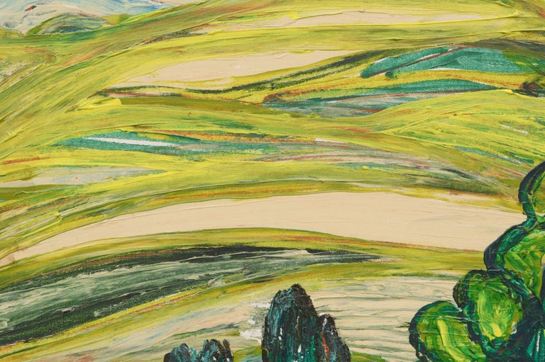 Modernist Rolling Hills Countryside Landscape - Painting by Allie William Skelton