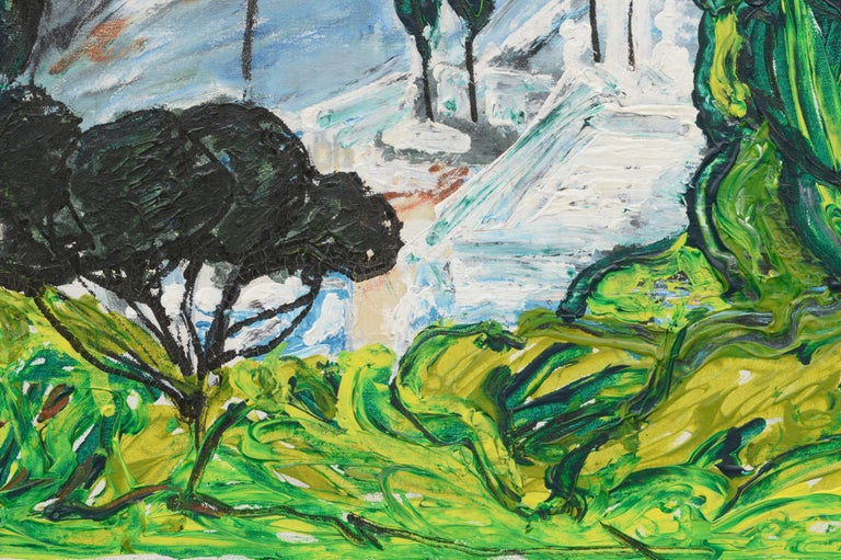 Modernist Rolling Hills Countryside Landscape - Green Abstract Painting by Allie William Skelton