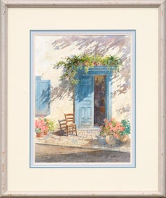 Blue Doorway with Chair and Flowers