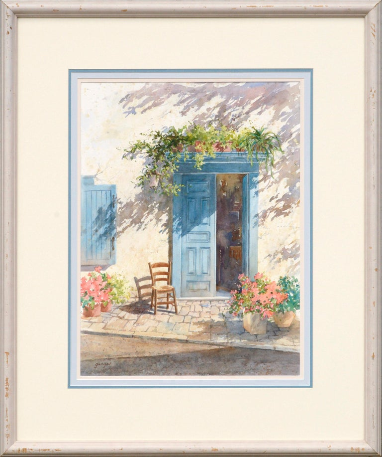 Sharon Galligan Landscape Art - Blue Doorway with Chair and Flowers