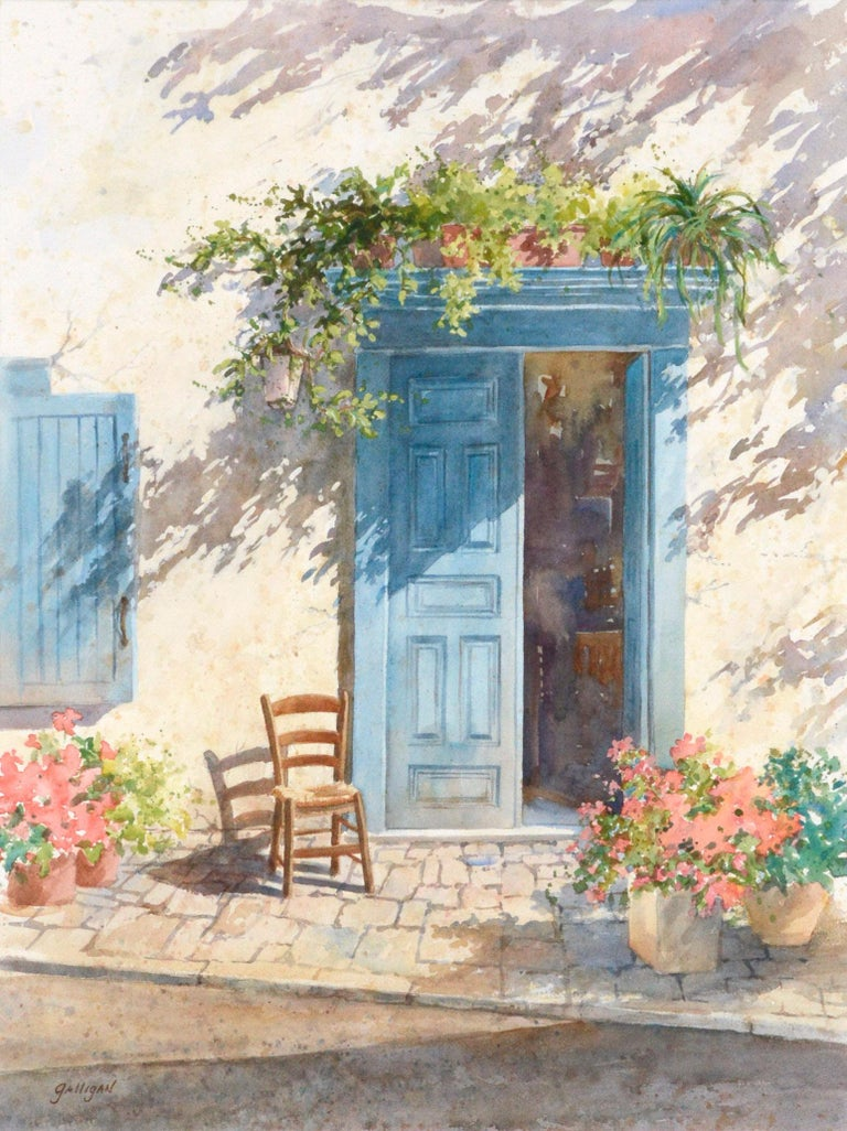 Blue Doorway with Chair and Flowers - Art by Sharon Galligan