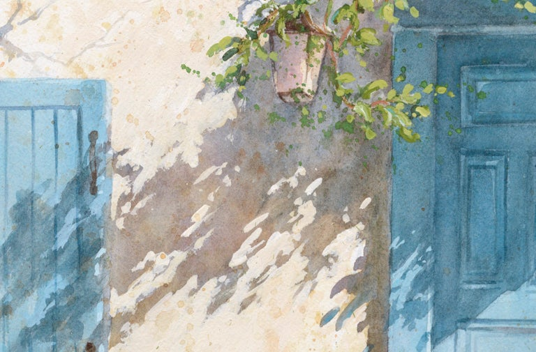 Lively watercolor of a doorway with a chair and flowers by Sharon Galligan (American, b. 1939). Signed