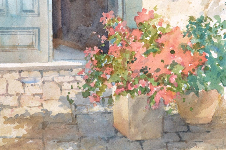 Blue Doorway with Chair and Flowers - Beige Landscape Art by Sharon Galligan