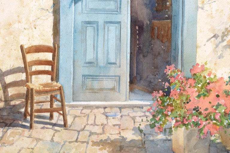 Blue Doorway with Chair and Flowers For Sale 1