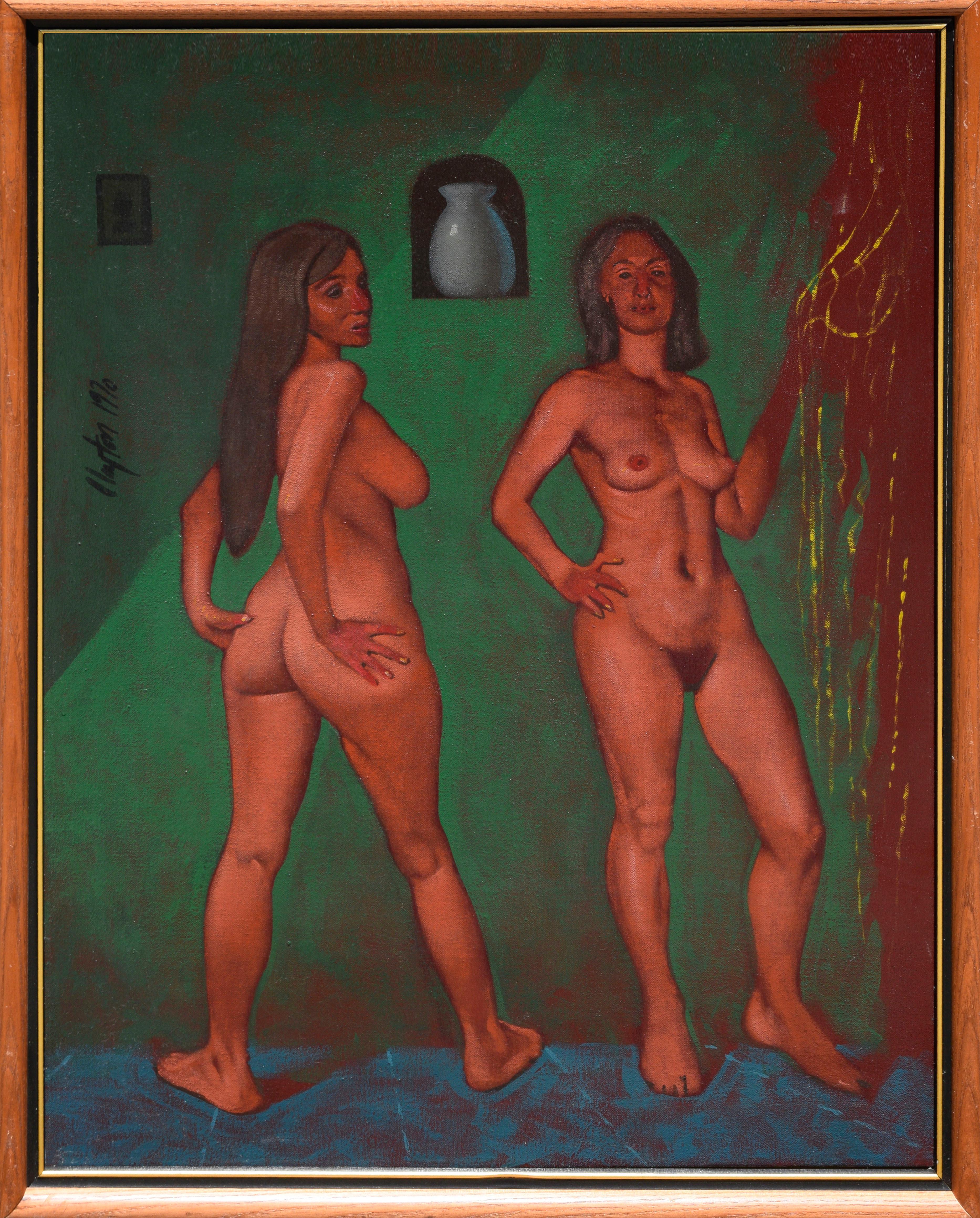 """""""Two Nudes in Interior"""" - 1970's Surrealist Figurative"""