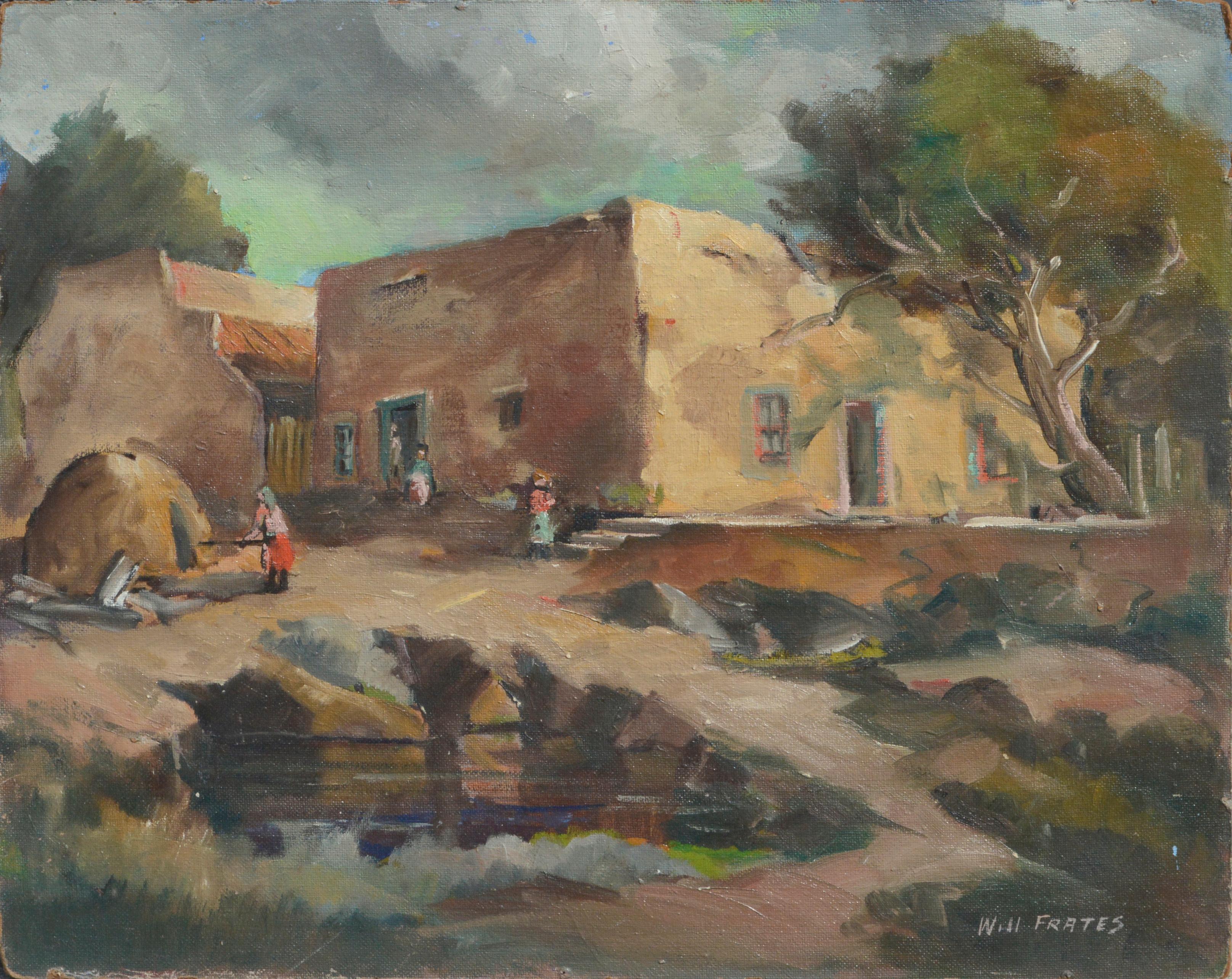 Mid Century Pueblo Village New Mexico - Southwestern Figurative Landscape