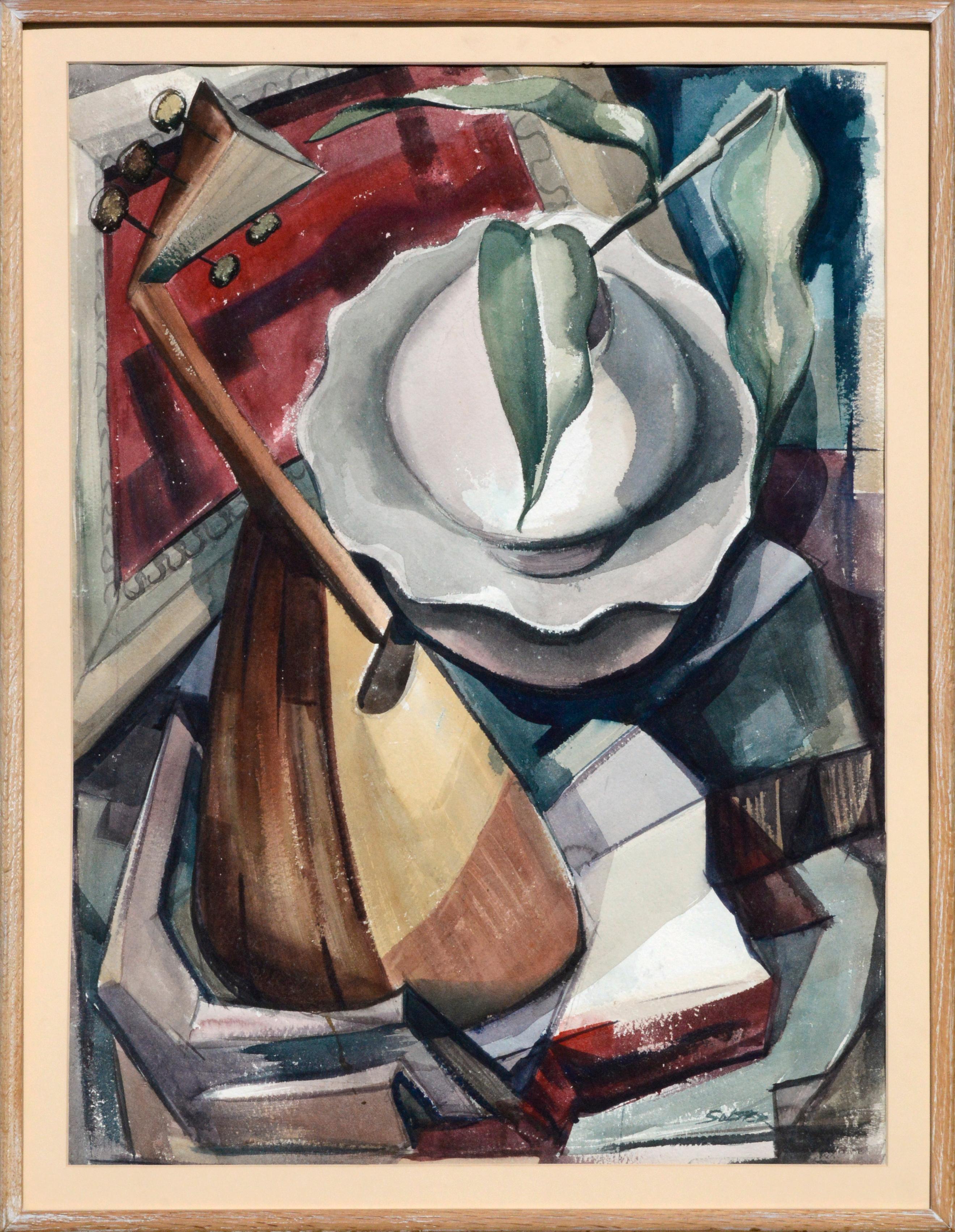 Mid Century Modern Cubist Mandolin Abstract Still-Life