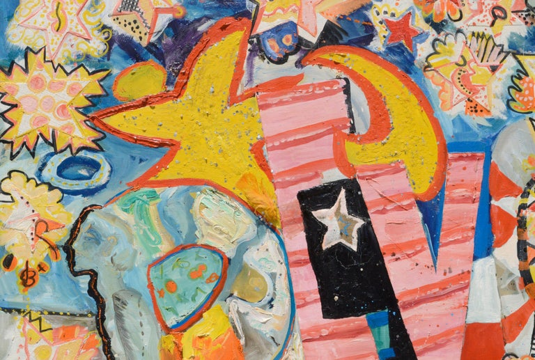 REVOLUTION, Large Scale Mixed Media Abstract Expressionist, San Francisco 1970s - Painting by Allie William Skelton