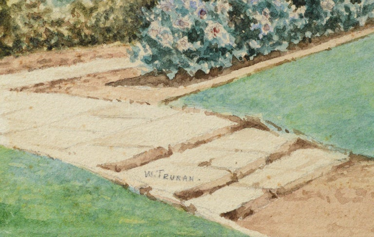 Watercolor of a cathedral courtyard by William Truran (English, 1868-1926). Signed