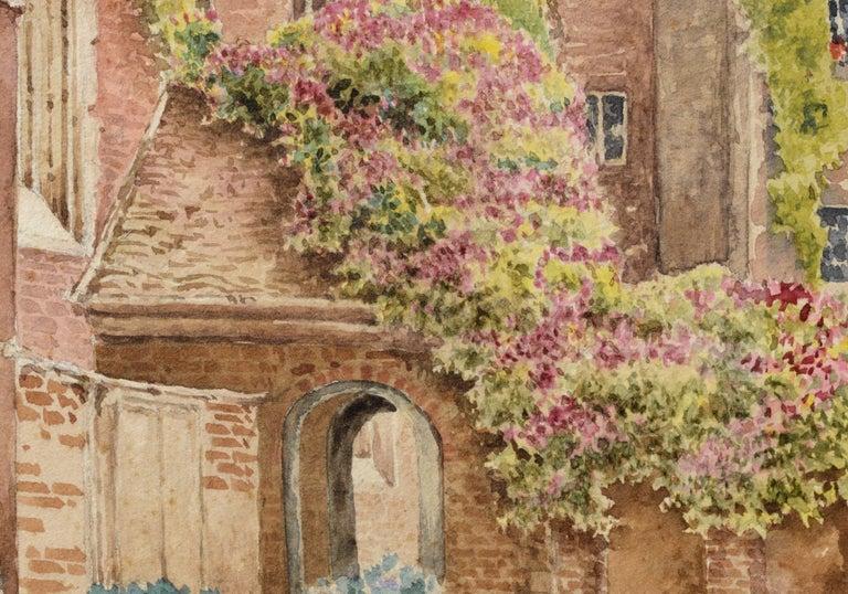 Cathedral Courtyard Architectural Landscape  - Beige Landscape Art by William Truran