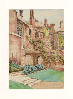 Late 19th Century Cathedral Courtyard Architectural Landscape w. Garden Flowers