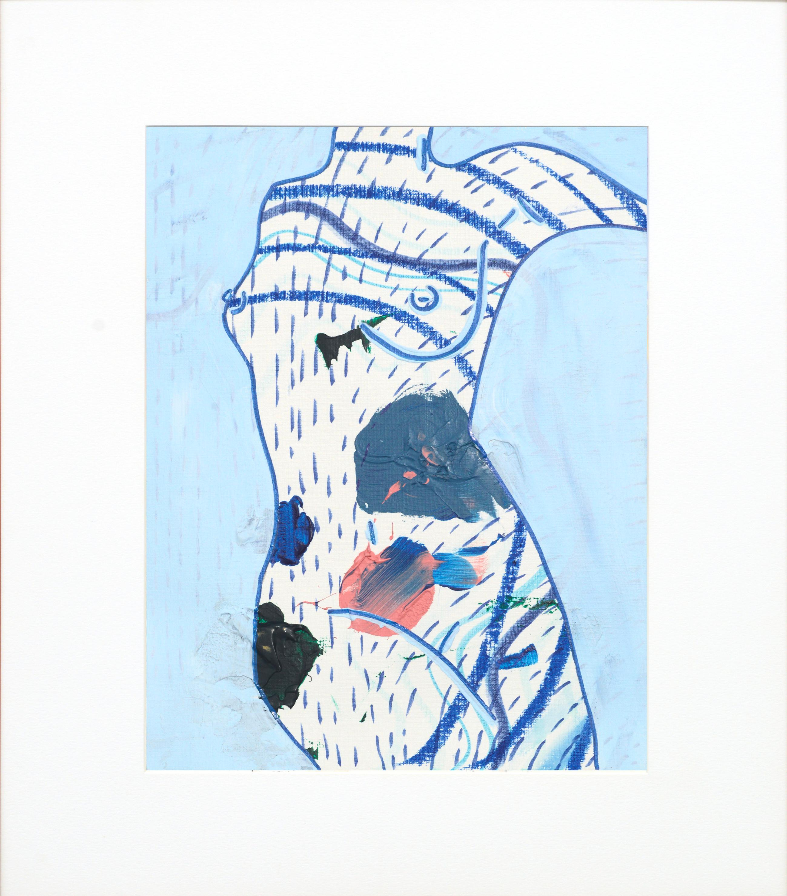 Blue Patterned Abstract Nude Figure
