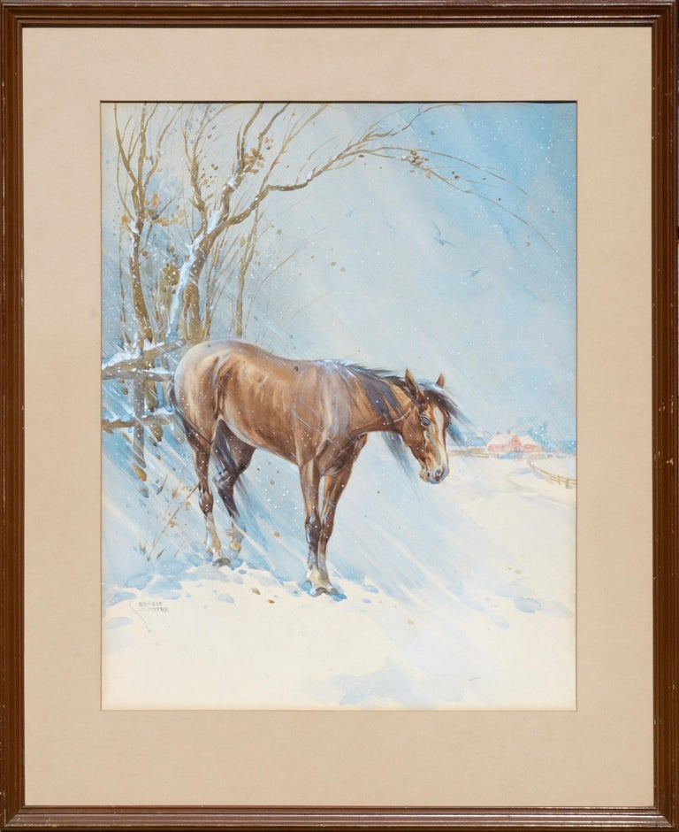 "Watercolor painting of a horse in winter with a bard in the background by Ernest Smythe, was born in England in 1881 (American/England 1881-1950).  Resident of Burbank in 1923-40.   (b- 19th Century). Signed ""ERNEST SMYTHE"" in lower left corner."