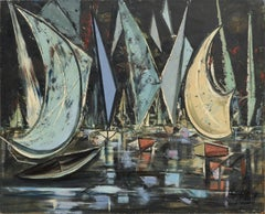 Sail Boat Races Sausalito Mid-Century Abstract