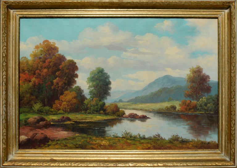 Robert DeWitt Landscape Painting - Peacful California Landscape of River and Mountains