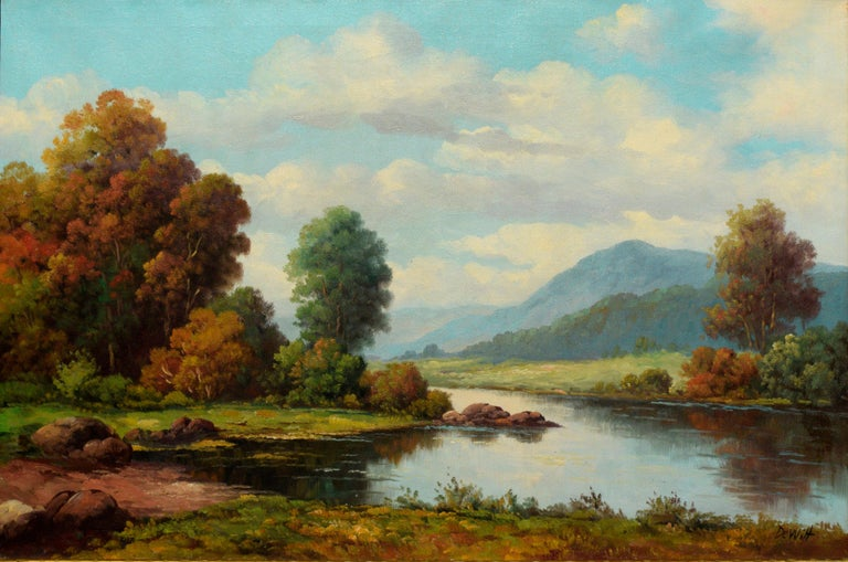 Peacful California Landscape of River and Mountains - Painting by Robert DeWitt