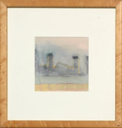 """Chimneys at Dusk"" Abstract Landscape"