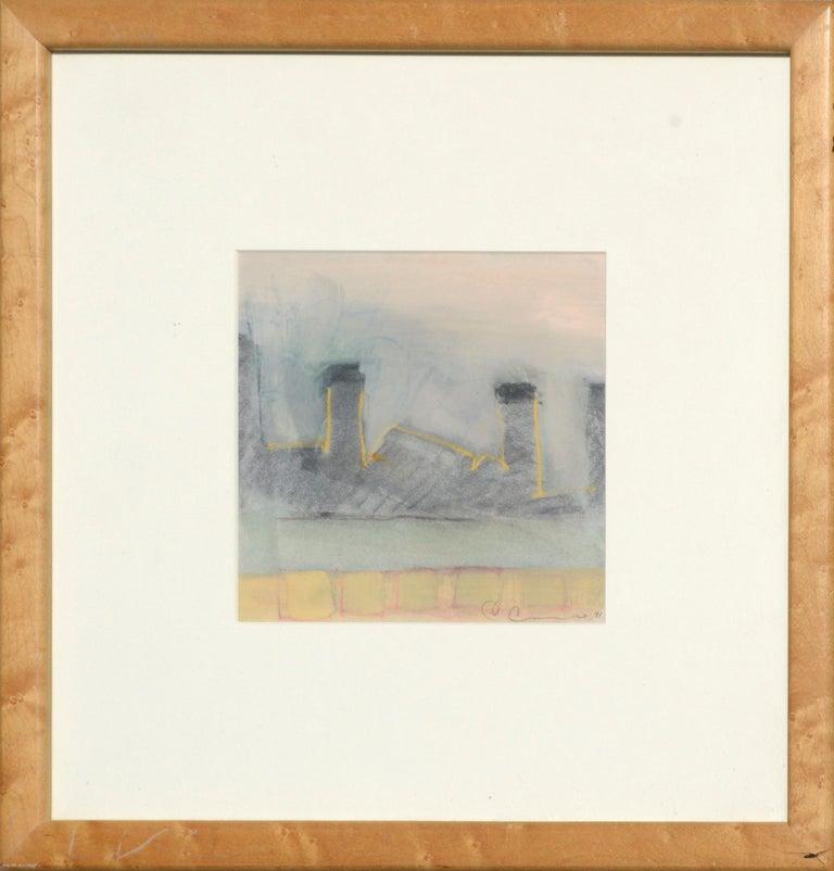 "Chris Cacciotti Landscape Art - ""Chimneys at Dusk"" Abstract Landscape"