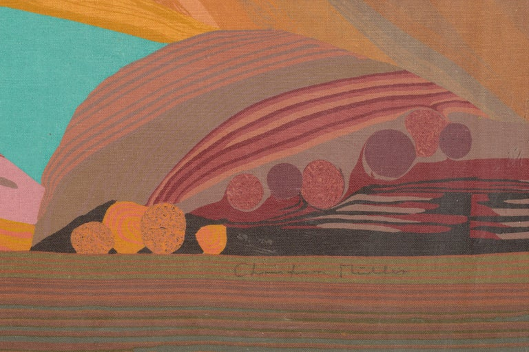 tempera (Tempagrahie) print of an abstract landscape in Greece by Christian Mueller (Switzerland, b-1945) Signed