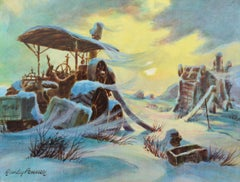 Harvester at the Mill in Winter - Landscape