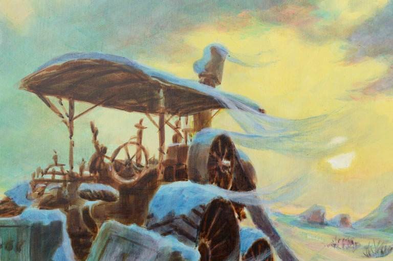 Harvester at the Mill in Winter - Landscape - Painting by Randy Penner