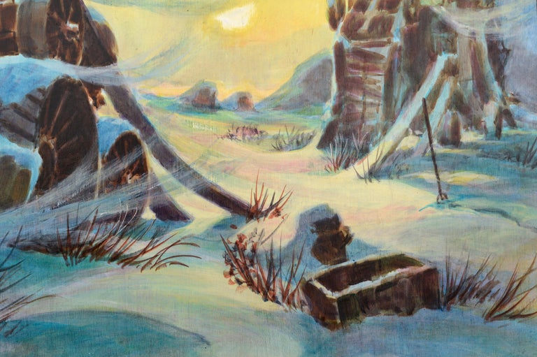 Harvester at the Mill in Winter - Landscape - Brown Landscape Painting by Randy Penner