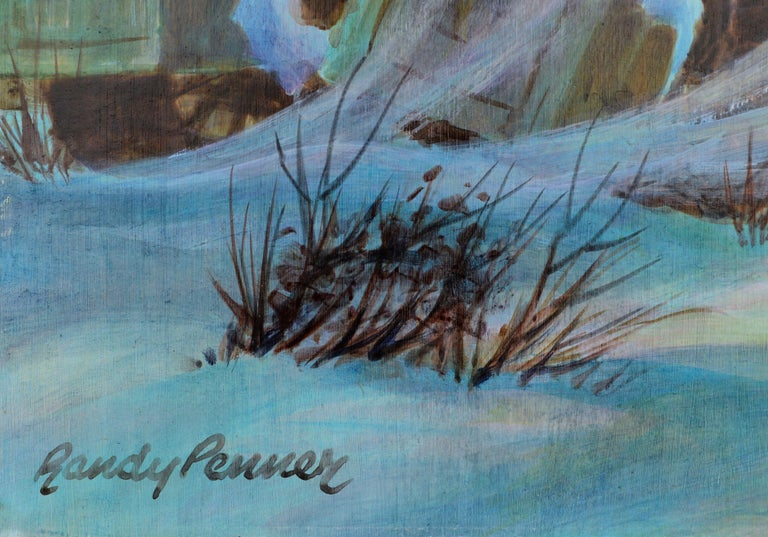 Watercolor on masonite of farm equipment in winter by Randy Penner (American, 1921-2002). Signed