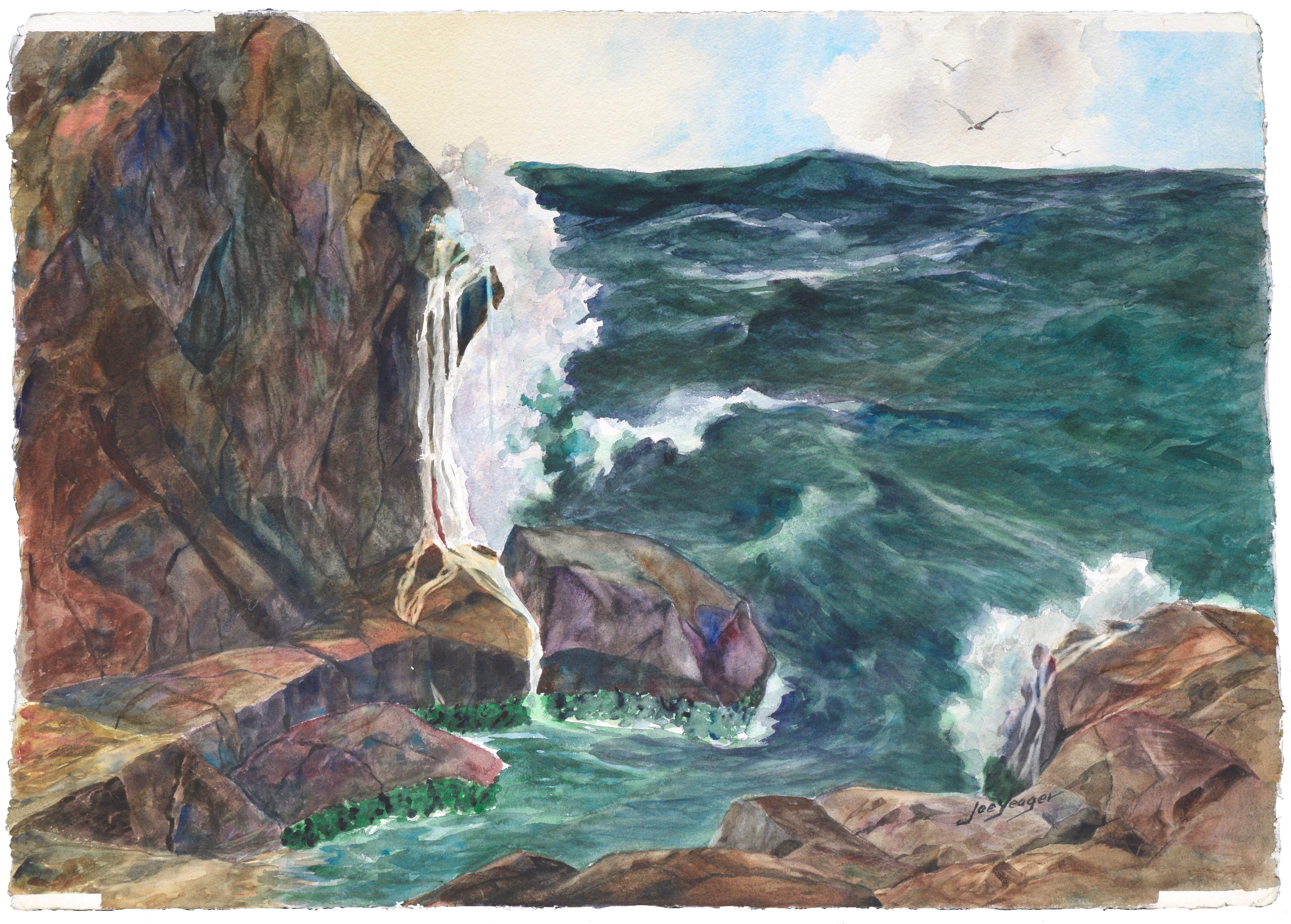 Mid Century Ocean Study - Seascape and Cliff