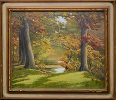 Elm Trees in Autumn Landscape in Antique Newcomb-Macklin Frame