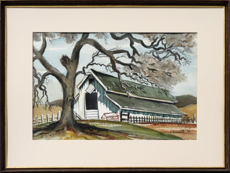 Virginia Burnett Landscape Painting - Green Barn in Autumn