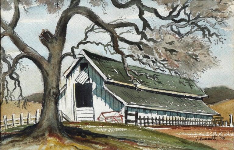 Green Barn in Autumn - Painting by Virginia Burnett