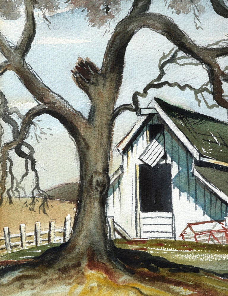 Green Barn in Autumn - American Impressionist Painting by Virginia Burnett