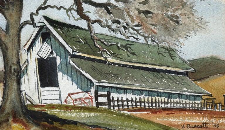 Green Barn in Autumn - Beige Landscape Painting by Virginia Burnett