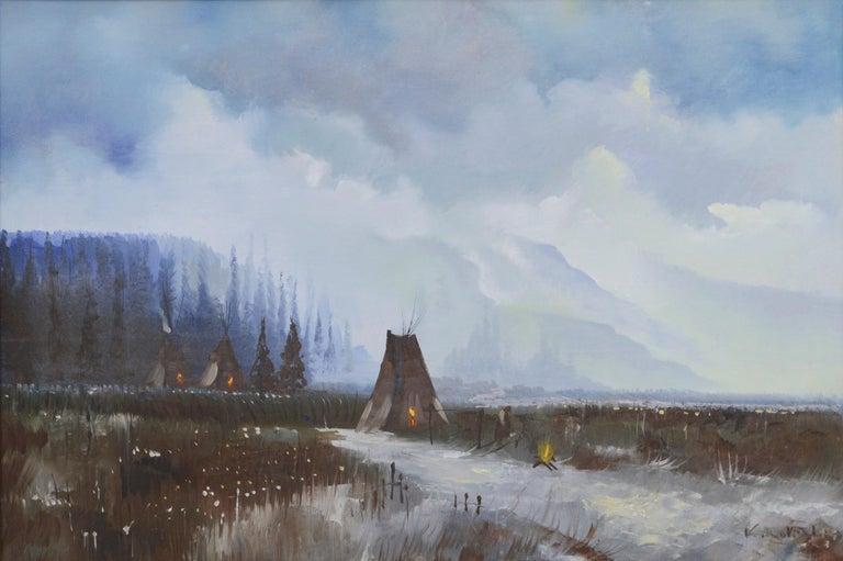 Yosemite Valley -- Native American Camp  - Painting by Kirov