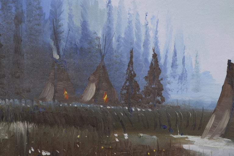Yosemite Valley -- Native American Camp  - American Impressionist Painting by Kirov