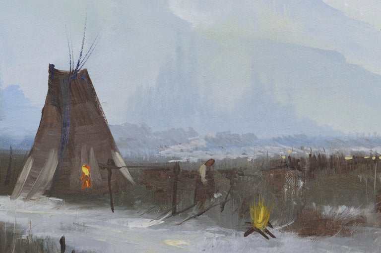 Yosemite Valley -- Native American Camp  - Gray Figurative Painting by Kirov