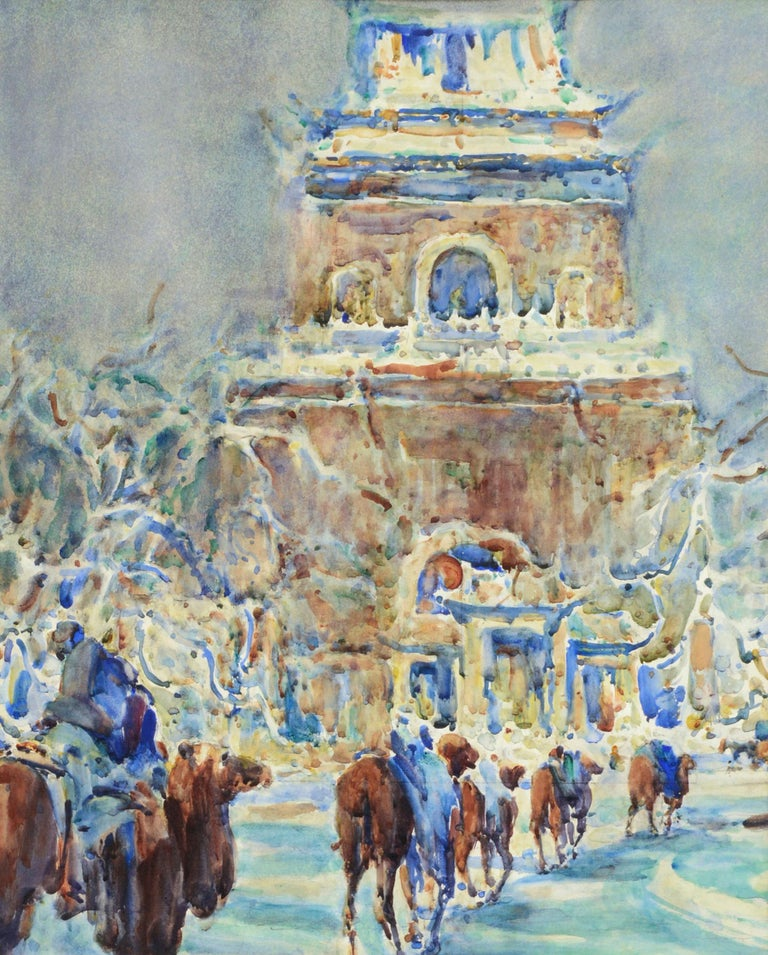 Peking Bell Tower, China 1920s - American Impressionist Art by William Clothier Watts