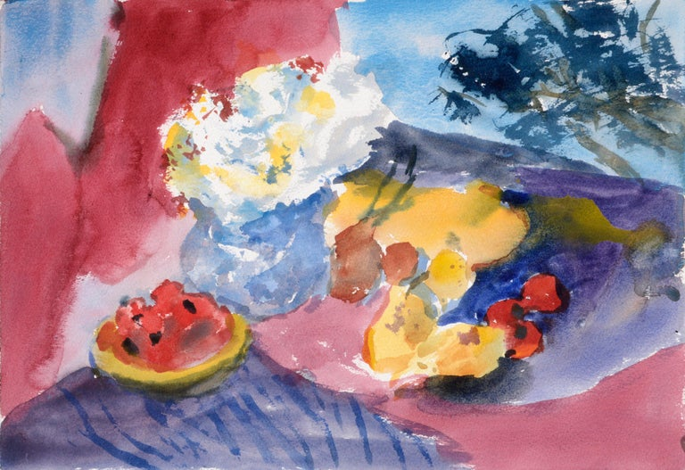 "Vivid watercolor still life on heavy paper by Les Anderson (American, 1928-2009). This piece is unsigned but was acquired from the estate of Les Anderson in Monterey, California. Unframed.  Leslie Luverne ""Les"" Anderson (American, 1928-2009) was a"