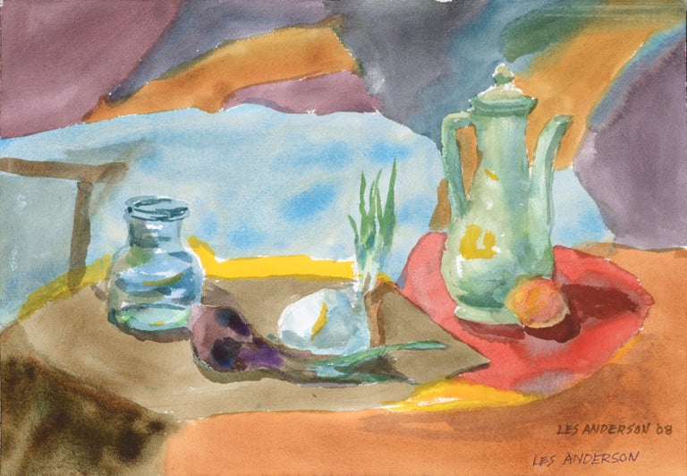 """Watercolor still life on heavy paper by Les Anderson (American, 1928-2009). Signed twice and dated """"LES ANDERSON '08"""" in the lower right corner. This piece was acquired from the estate of Les Anderson in Monterey, California. Unframed.  Leslie"""
