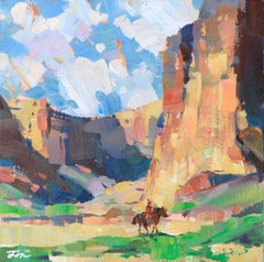 Cowboy in the Canyon - Landscape by Tiffanie Mang
