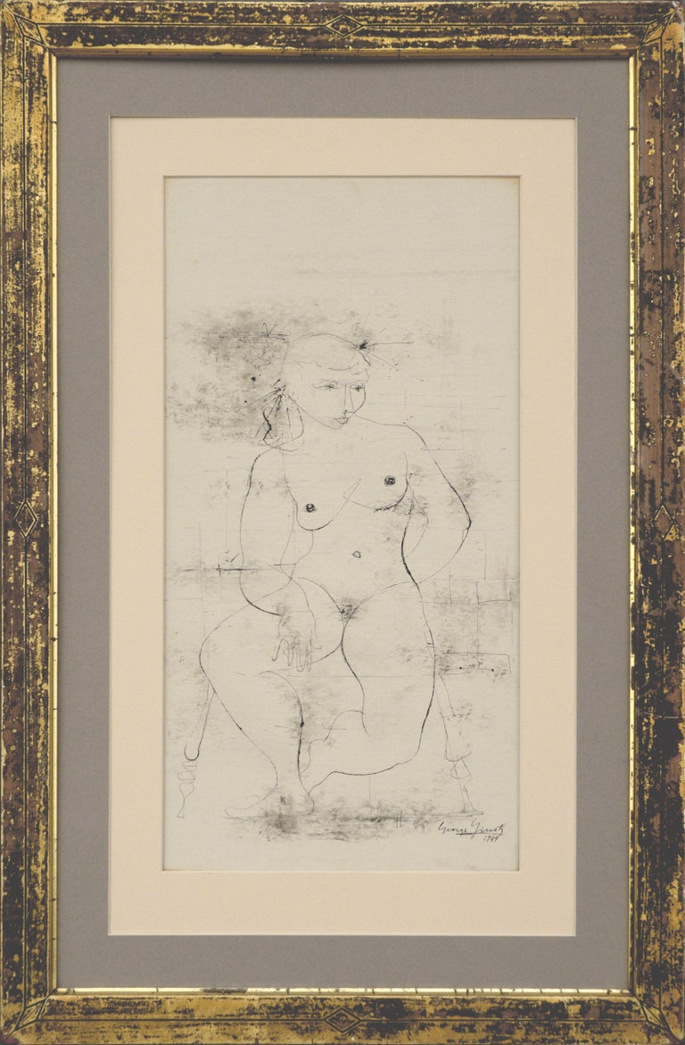 """Abstract nude figurative drawing by George Giusti, (Italian 1908-1990). India ink on gesso patterned drawing paper created in 1949. Signed """"George Giusti 1949"""" in the lower right corner. Presented in a distressed giltwood frame with glass and a"""
