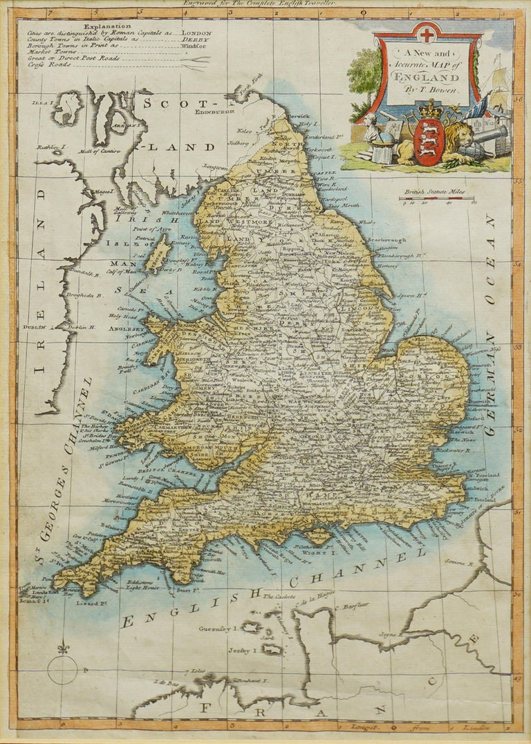 18th Century Accurate Map of England For Sale 1