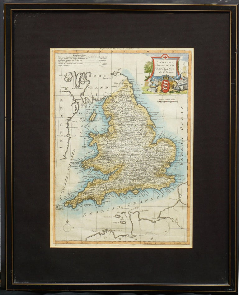 """18th Century map of England by Thomas Bowen (died 1790), C. 1770. Condition: Good; normal tonal aging. Image size: 13""""H x 9""""W. Presented in gilt toned black painted frame under glass. Framed size: 20""""H x 16""""W x 1""""D.  Thomas Bowen was an English"""