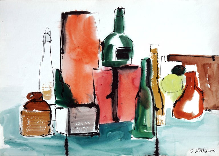 "Bright still life with bottles and jug by Diane Baldwin (American, 20th Century). Signed ""Baldwin"" bottom right. Unframed. Image size: 30""H x 22""W."