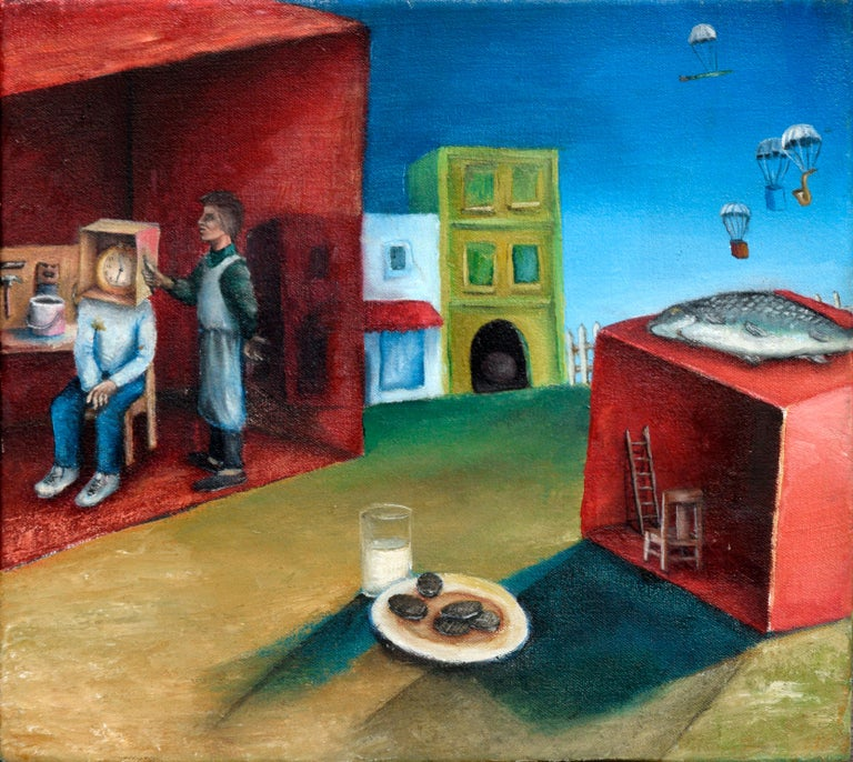 Surreal Figurative Landscape with Milk and Cookies - Surrealist Painting by David Musser