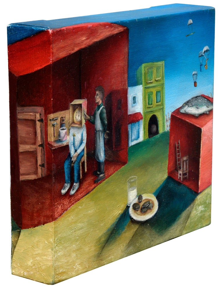 Surreal Figurative Landscape with Milk and Cookies - Painting by David Musser