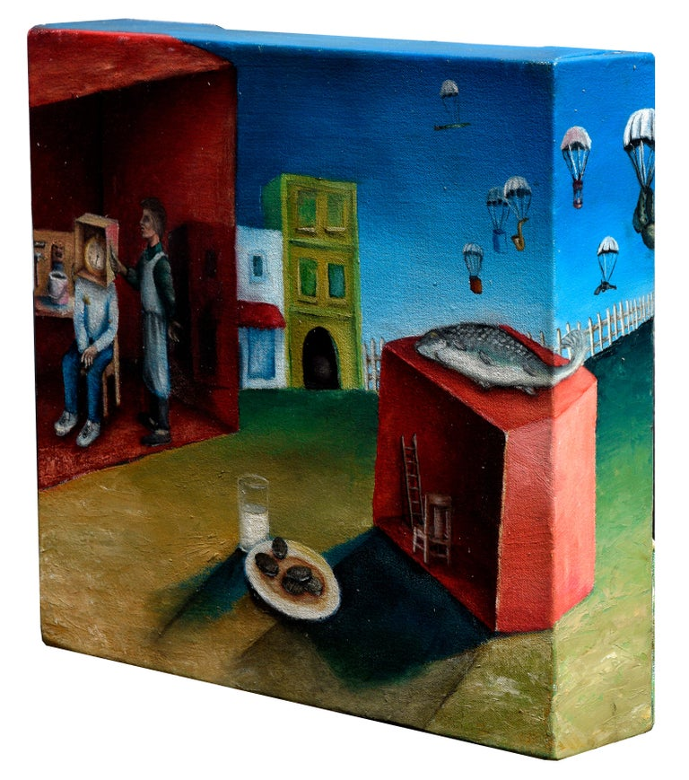David Musser Landscape Painting - Surreal Figurative Landscape with Milk and Cookies
