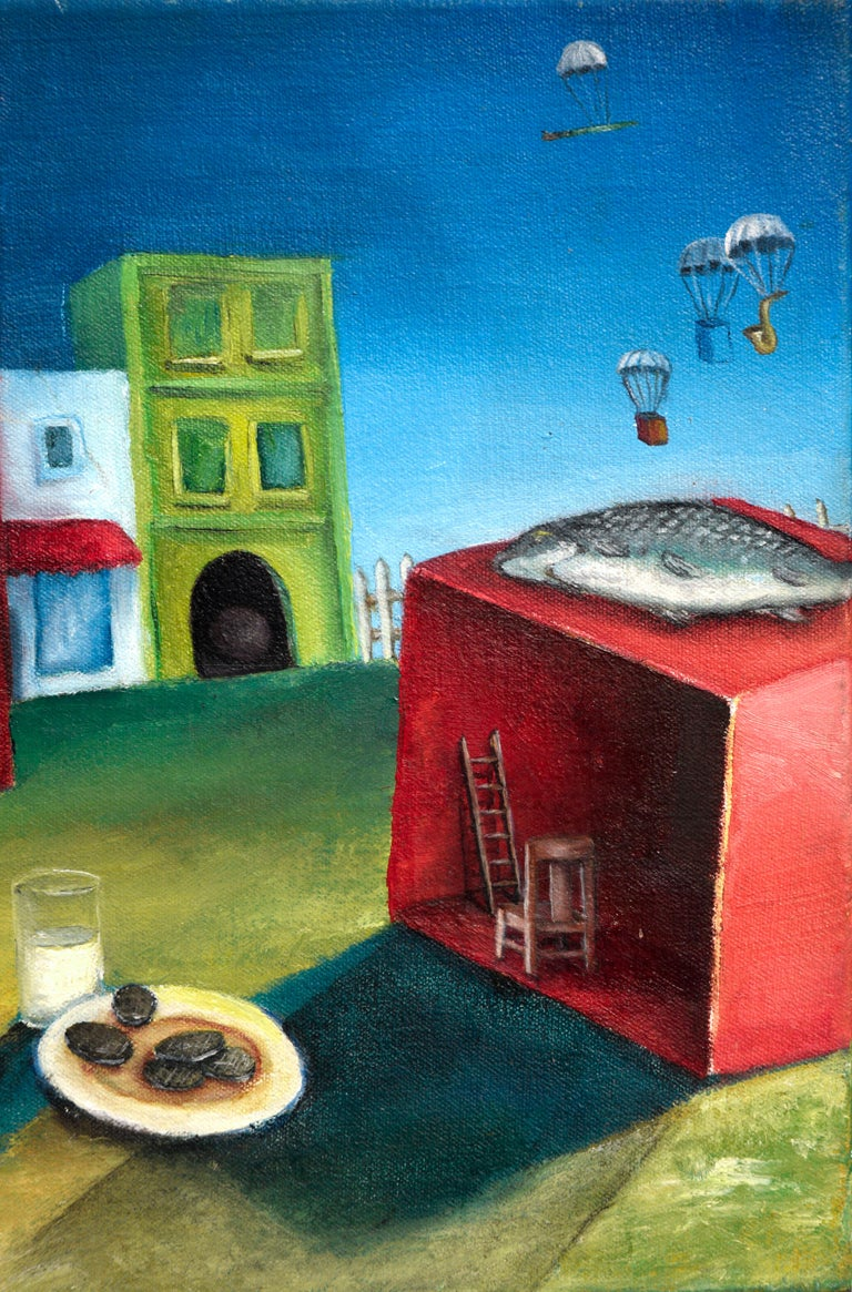 Surreal Figurative Landscape with Milk and Cookies For Sale 1
